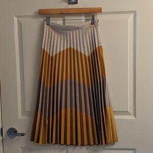 Zara XS yellow and grey midi skirt